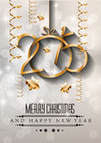 2015 New Year and Happy Christmas background for your flyers. Includes a lot of festive themed elements: balls, stars, golden words and shapes Royalty Free Stock Photos