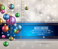 2015 New Year and Happy Christmas background for your flyers. Includes a lot of festive themed elements: balls, stars, golden words and shapes Royalty Free Stock Photography