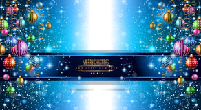 2015 New Year and Happy Christmas background for your flyers. Includes a lot of festive themed elements: balls, stars, golden words and shapes Royalty Free Stock Photo