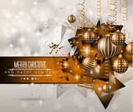2015 New Year and Happy Christmas background. For your flyers. Includes a lot of festive themed elements: balls, stars, golden words and shapes Stock Photo