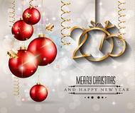 2015 New Year and Happy Christmas background for your flyers. Includes a lot of festive themed elements: balls, stars, golden words and shapes Stock Photos