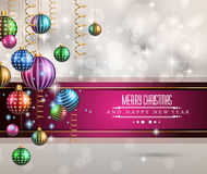2015 New Year and Happy Christmas background for your flyers. Includes a lot of festive themed elements: balls, stars, golden words and shapes Vector Illustration