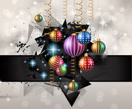 2016 New Year and Happy Christmas background for your flyers. Includes a lot of festive themed elements: balls, stars, golden words and shapes Stock Images