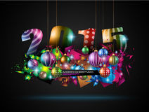 2015 New Year and Happy Christmas background Stock Images