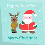 New Year and Happy Christmas Card. Santa Claus and reindeer   Stock Image