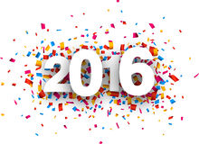 2016 new year. Happy 2016 new year with colour confetti. Vector paper illustration royalty free illustration