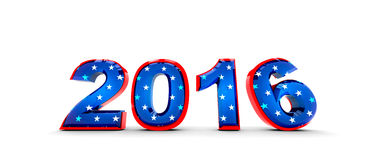 2016 America style. 2016 year concept numbers covered in white stars. American Flag Stock Images