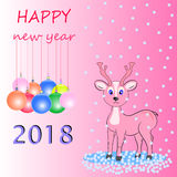 New year happy deer. Happy new year postcard pink deer Royalty Free Stock Photo