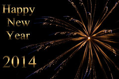New year 2014. Happy new year 2014 in gold Royalty Free Stock Photo