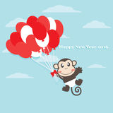 New year. Happy new year 2016 greeting background with little monkey holding a balloons in the sky. Flat illustration design Royalty Free Illustration