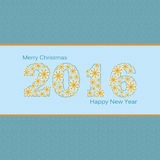 New Year. Happy New Year 2016 greeting card. Snowflake background Stock Image