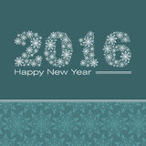 New Year. Happy New Year 2016 greeting card. Snowflake background vector illustration