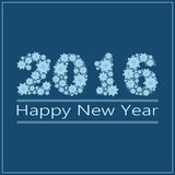 New Year. Happy New Year 2016 greeting card. Snowflake background Royalty Free Stock Images