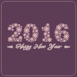 New Year. Happy New Year 2016 greeting card. Snowflake background Stock Photography
