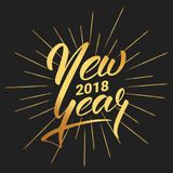 New Year. Happy New Year 2018 hand lettering with gold shiny texture. Hand drawn logo for New Year card, poster, design Stock Images