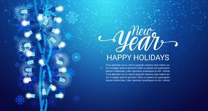 New Year Happy Holidays Background Snowfall On Blue, Shine Garland Decoration Banner With Copy Space Stock Images