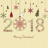 2018 New year. Happy holidays background with snowflakes, snow, Stock Photos