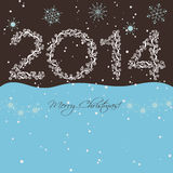 2014 New year. Happy holidays background with snowflakes and snow. 2014 made of hoarfrost Royalty Free Stock Photos