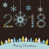 2018 New year. Happy holidays background with snowflakes, snow, Stock Photo