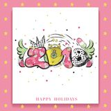 2018 New Year happy holidays slogan with acrylic paint design element for flyers, leaflets, postcards and posters. Royalty Free Stock Image