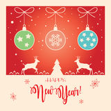 New Year 2017. Happy New Year 2017 lettering Celebration card. Christmas decoration For Winter Holiday Calligraphy greeting card, banner, poster, festival Stock Images