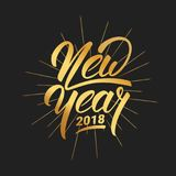 New Year. Happy New Year 2018 hand lettering with gold shiny texture. Hand drawn logo for New Year card, poster, design Stock Image