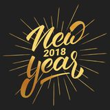 New Year. Happy New Year 2018 hand lettering with gold shiny texture. Hand drawn logo for New Year card, poster, design Royalty Free Stock Images