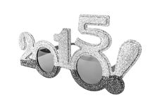 New 2015 year. Happy New 2015 year in silver tones. Christmas figures in the form of glasses Stock Photo