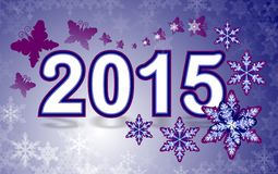 2015 New Year. Happy New Year 2015 with snowflakes with snowflakes and butterfly Royalty Free Stock Photo