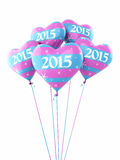 New year 2015 Heart Balloons. 3d render New year 2015 Heart Balloons isolated on white and clipping path Stock Image