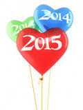 New year 2015 Heart Balloons. 3d render New year 2015 Heart Balloons isolated on white and clipping path Stock Photo