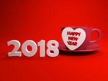 New Year 2018 with Heart Symbol Stock Images