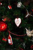 New Year heart. Toy tree decor decoration red ball heart angel background holiday Christmas Royalty Free Stock Photos