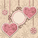 New Year hearts and frame Stock Photos