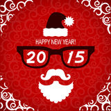 New year hipster greeting card with Santa.Vector illustration Stock Images