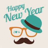 New Year hipster. Greeting card about New Year Hipster style stock illustration