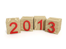 New Year holiday. 3d illustration: New Year holiday. Wooden blocks with the inscription 2013 Royalty Free Stock Photos
