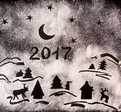 New Year holiday background with drawings with flour and text 20 Royalty Free Stock Images