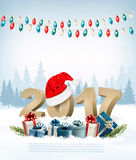 New Year Holiday background with 2017 and garland. Stock Photography