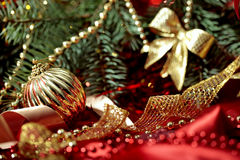 New Year holiday background with golden ball close-up Stock Photography