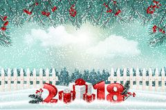 New Year holiday background with numbers 2018, gifts and winter landscape stock photos