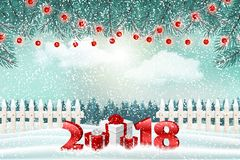 New Year holiday background with numbers 2018, gifts and winter landscape stock photo