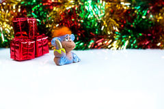 New Year holiday background with red hair monkey Stock Photos