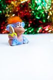 New Year holiday background with red hair monkey Royalty Free Stock Photo
