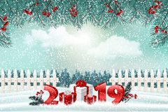 New Year holiday background with numbers 2019, gifts and winter landscape stock photography