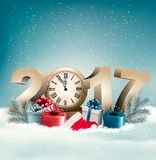 New Year 2017 holiday background with snow. And gift boxes. Vector Stock Photo