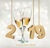 New Year Holiday background with a 2019 and two glasses of champ Royalty Free Stock Photo
