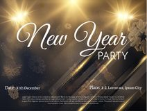 New year holiday background. Vector EPS10. New year stylish golden snowflakes background flyer. Vector EPS10 Stock Photography