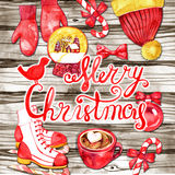 New Year holiday card. Christmas elements and lettering on wood background. Watercolor. New Year holiday card. Christmas elements and lettering on wood Stock Photo