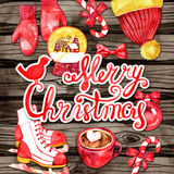 New Year holiday card. Christmas elements and lettering on wood background. Watercolor. Royalty Free Stock Images